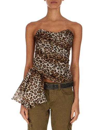 Strapless Asymmetric Leopard-Print Blouse
