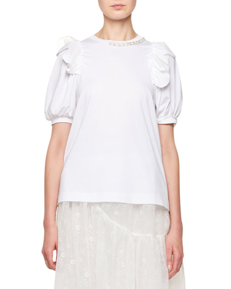 Simone Rocha Crewneck Puff-Sleeve T-Shirt with Pearlescent