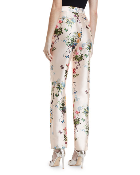 High-Waist Botanical-Print Straight-Leg Mikado Pants