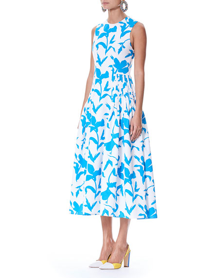 Iris Floral-Print Sleeveless Cotton Faille Dress with Side Pleats