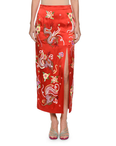 Envers Embroidered-Dragon Satin Slim Skirt with Sequins Trim