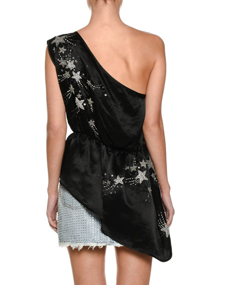 One-Shoulder Crepe De Chine Top with Embroidered Stars