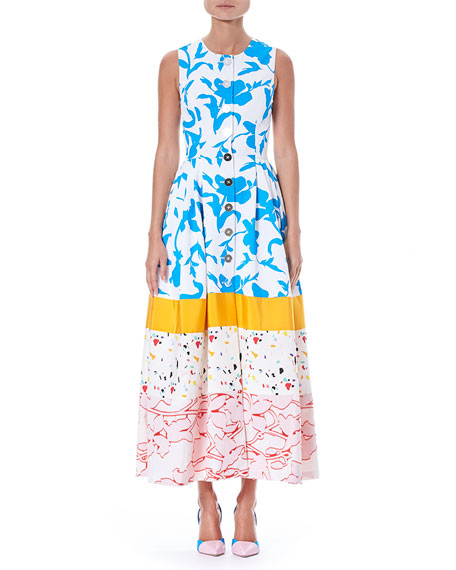 Carolina Herrera Sleeveless Button-Front Multi-Print Colorblock