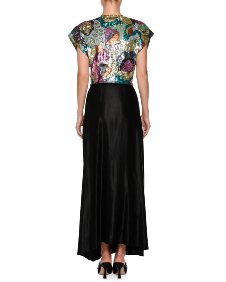 Embroidered Sequins Tie-Waist Evening Gown with Crepe Silk Skirt