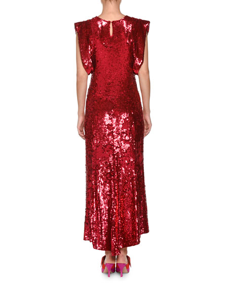 Sleeveless Tulle A-Line Evening Gown with Allover Sequins Embroidery