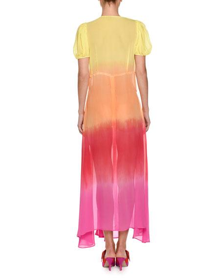 0c0692ab Attico V-Neck Short-Sleeve Ombré Georgette Maxi Dress | Neiman Marcus