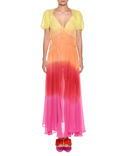 V-Neck Short-Sleeve Ombré Georgette Maxi Dress