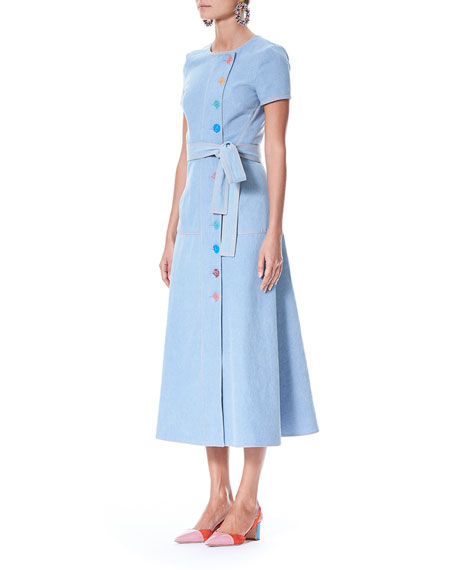 Short-Sleeve Off-Center Button-Front Long Denim Shirtdress