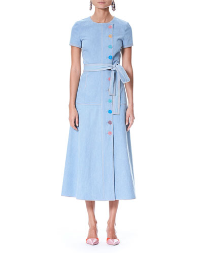 Short-Sleeve Off-Center Button-Front Long Denim Shirtdress