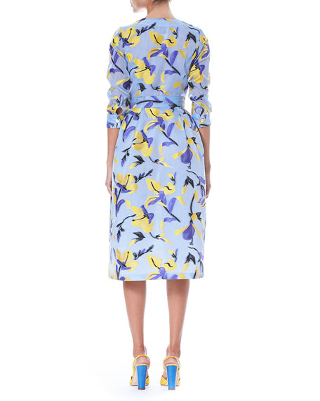 Iris Fil Coupé 3/4-Sleeve Button-Front Midi Shirtdress