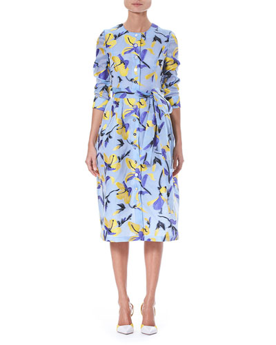 Iris Fil Coupé 3/4-Sleeve Button-Front Midi Shirtdress