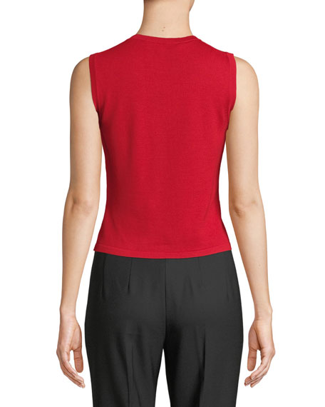 Crewneck Sleeveless Slim Wool-Silk Tank Top