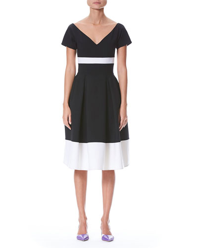 Fit-and-Flare Bicolor Wool-Blend Dress