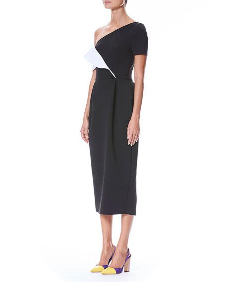 One-Shoulder Ruffle Neoprene Sheath Cocktail Dress