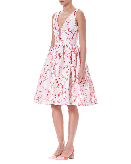 Sleeveless Fit-and-Flare Floral Fil Coupe Party Dress