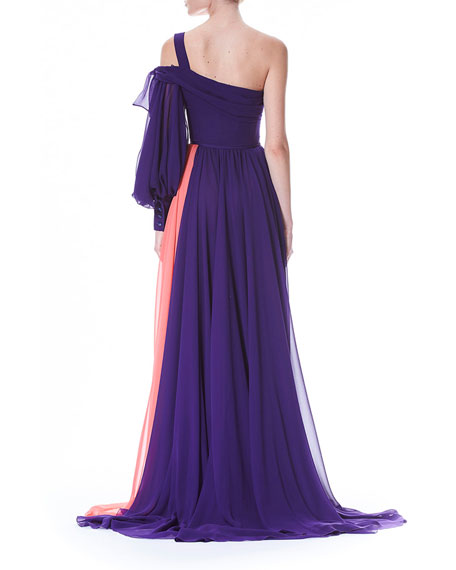 One-Sleeve Colorblocked Draped Chiffon Evening Gown