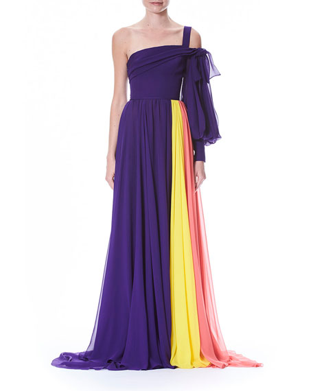 Carolina Herrera One-Sleeve Colorblocked Draped Chiffon Evening