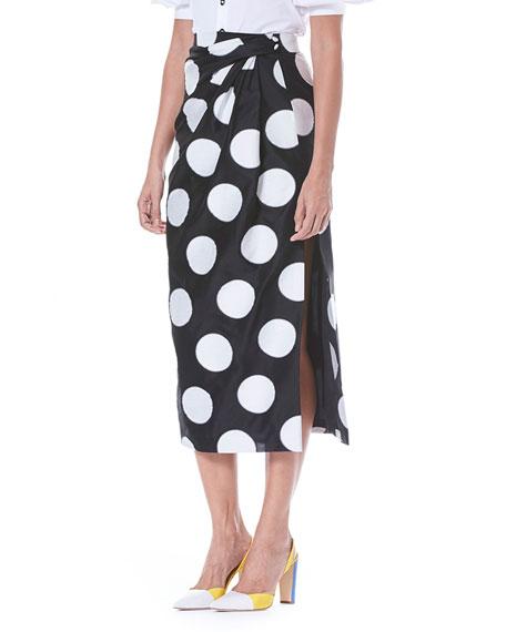 Faux-Wrap Side-Slit Dot-Print Midi Skirt