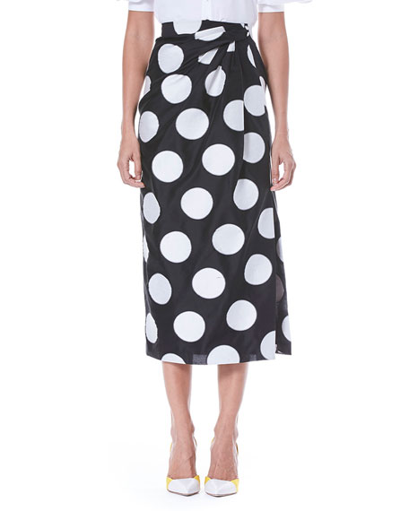 Carolina Herrera Faux-Wrap Side-Slit Dot-Print Midi Skirt and