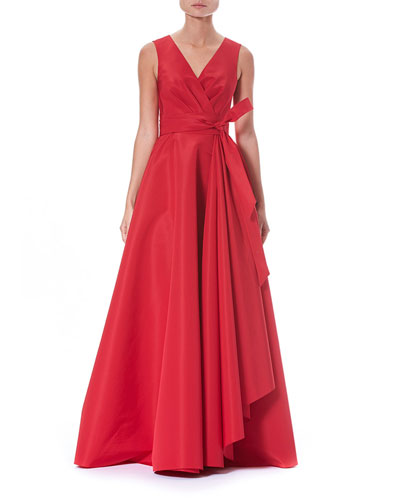 V-Neck Wrap Side-Ruffle Evening Gown