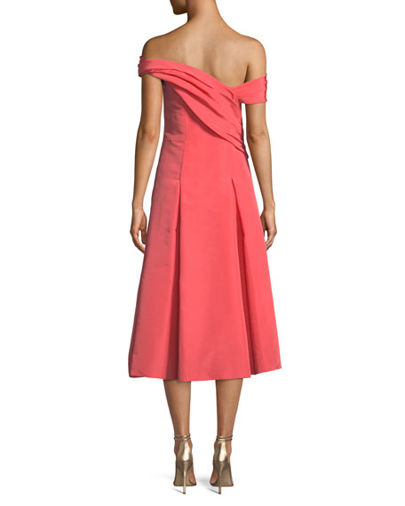 Off-the-Shoulder Sleeveless Fit-and-Flare Mid-Calf Cocktail Dress
