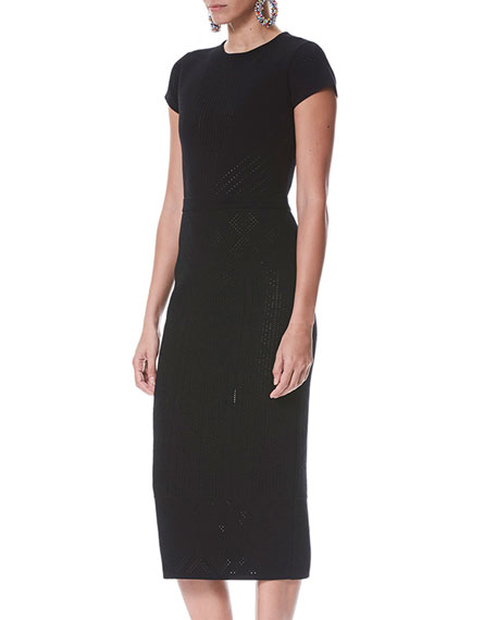 Short-Sleeve Pointelle Midi Sheath Cocktail Dress