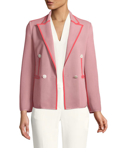 Double-Breasted Peak-Lapel Jersey Blazer with Contrast Piping Trim