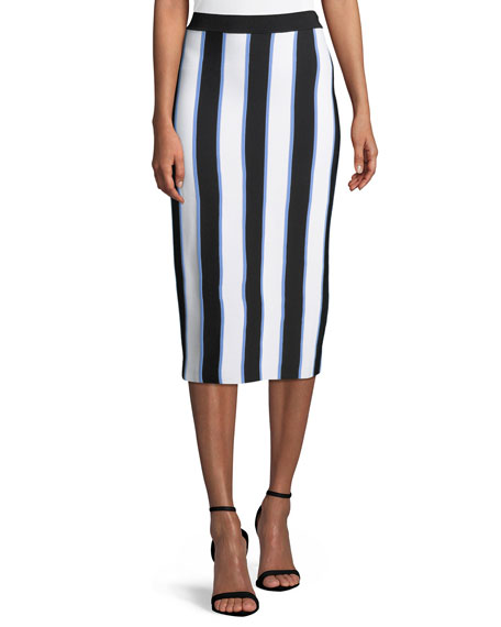 Carolina Herrera Striped Knit Pencil Midi Skirt