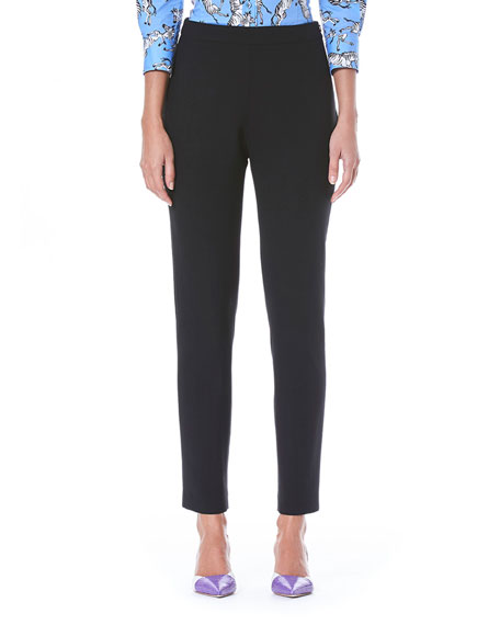 Straight-Leg Side-Zip Stretch-Wool Pants