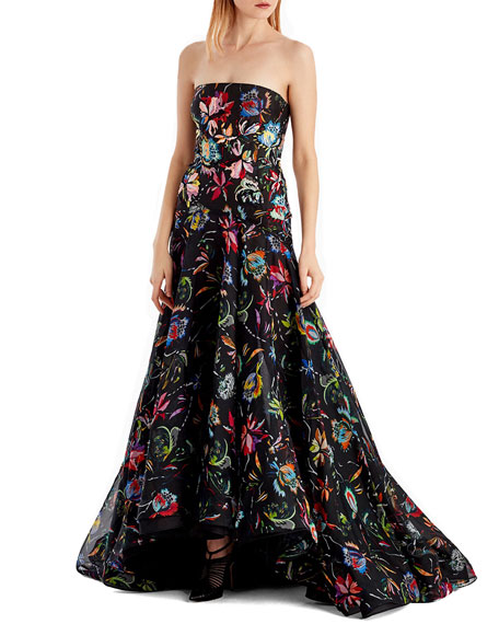 Floral-Printed Silk Organza Strapless Evening Gown