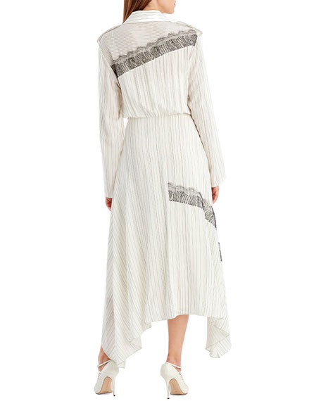 Long-Sleeve Pinstripe Silk Shirtdress w/ Lace Patches