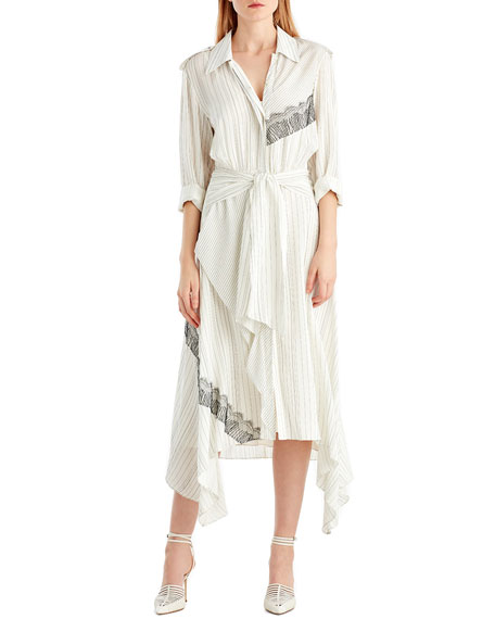 Jason Wu Long-Sleeve Pinstripe Silk Shirtdress w/ Lace