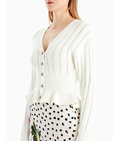 Button-Front V-Neck Mélange Knit Peplum Cardigan