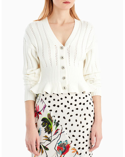 Button-Front V-Neck Mélange Knit Peplum Cardigan