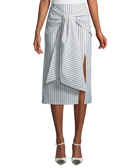 Jason Wu Tie-Front Striped Cotton Skirt