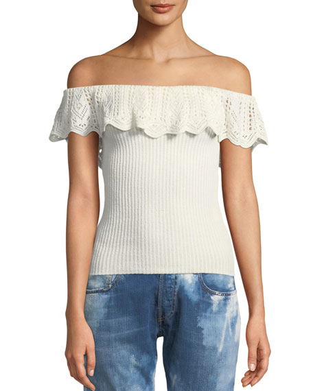 Off-the-Shoulder Crochet Ruffle Knit Top