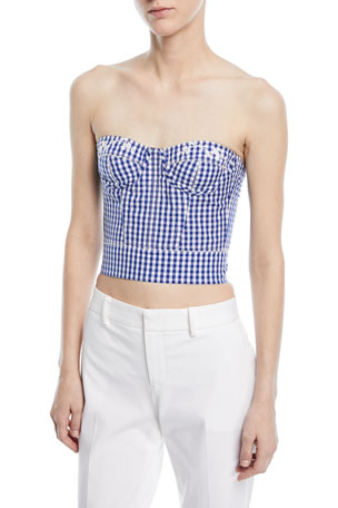 Ralph Lauren Collection Strapless Check Bustier Top