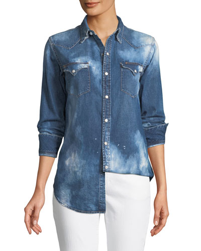 Bleached Western Denim Shirt