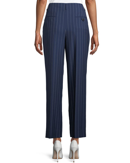 Kenley Striped Wool Wide-Leg Pants