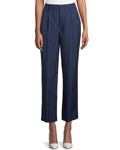 Ralph Lauren Collection Kenley Striped Wool Wide-Leg Pants
