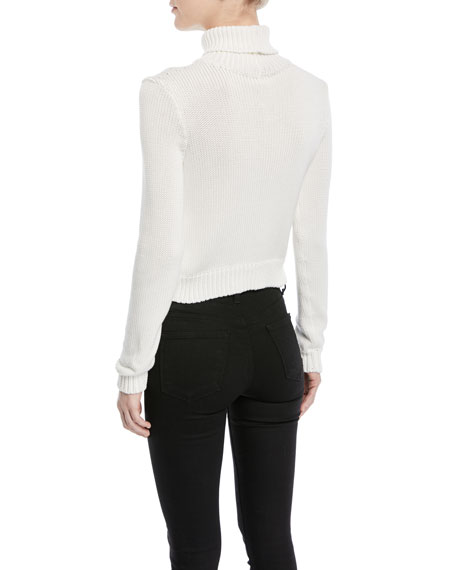 Long-Sleeve Chunky Cotton Turtleneck Sweater