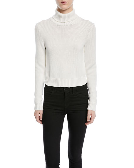 Long-Sleeve Chunky Cotton Turtleneck Sweater