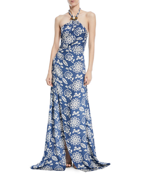 Halter Floral-Print Silk Gown with Toggle & Rope