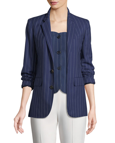 Ralph Lauren Collection Roberts Single-Breasted Pinstriped Wool