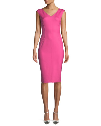 V-Neck Sleeveless Silk Crepe Sheath Dress