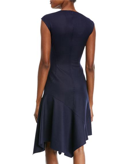Cap-Sleeve Stretch-Silk Crepe Dress w/ Handkerchief-Hem