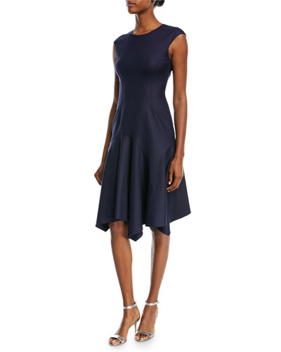 Cap-Sleeve Stretch-Silk Crepe Dress w/ Handkerchief-Hem