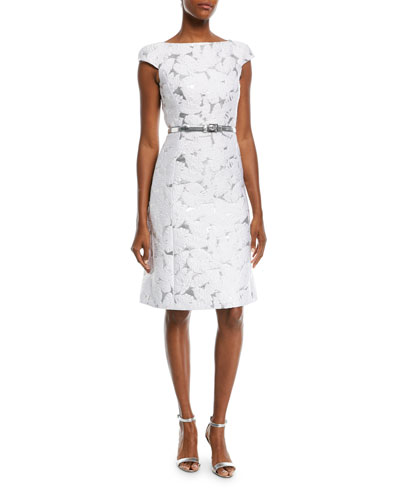 Michael Kors Collection Palm-Brocade Boat-Neck Cocktail Dress with Belt
