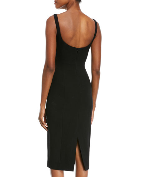 Sweetheart-Neck Stretch-Boucle Sheath Cocktail Dress