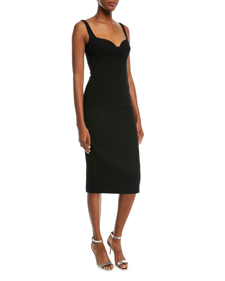 Michael Kors Collection Sweetheart-Neck Stretch-Boucle Sheath